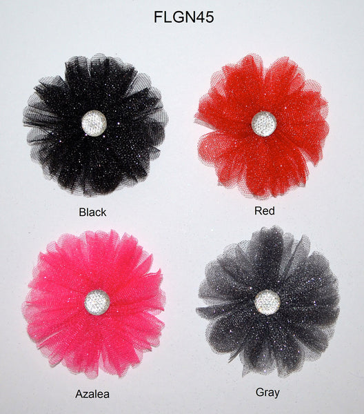 "3 1/2"" Metallic Flower With Acrylic Rhinestone Center - 4 Colors Available - Individual or 6 Pack"