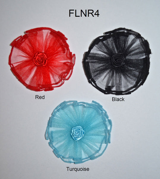 "4"" Net Flower With Rosette Center - 3 Colors Available - Individual or 6 Packs"