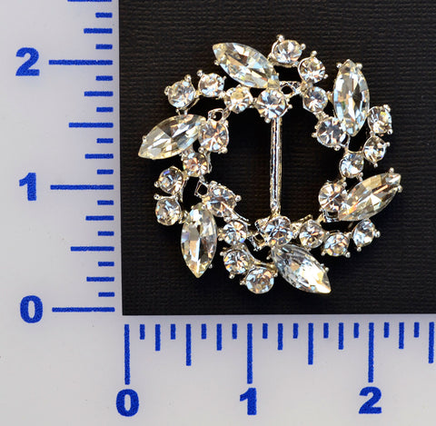 "2"" Fancy Silver Rhinestone Buckle"