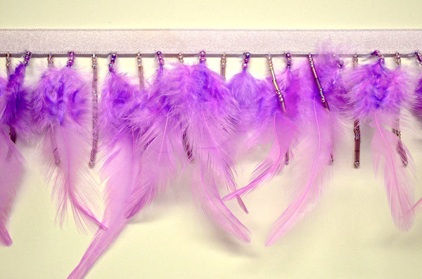 "3"" Orchid Feather And Iridescent Beaded Fringe"