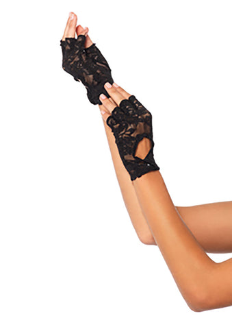 Black Lace Keyhole Fingerless Gloves