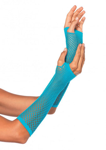 Fingerless Fishnet Elbow Length Gloves - 8 Colors Available