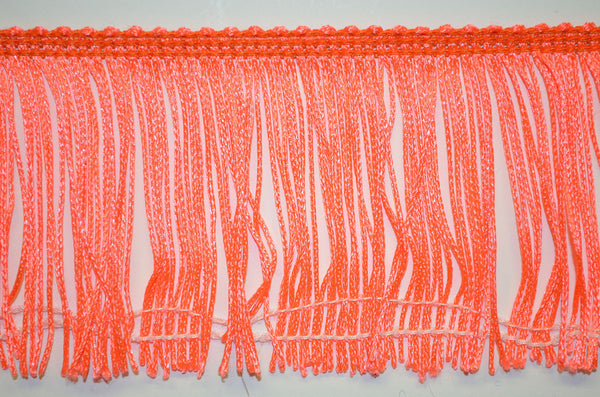 "3"" Fluorescent Orange Stretch Chainette Fringe"