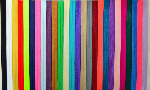 "3/4"" Fold Over Elastic by the yard - 33 Colors Available"