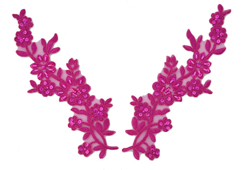 Fuchsia Pair Appliqués With Sequins And Beads
