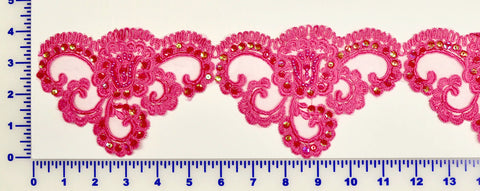Fuchsia Beaded Lace Trim With Sequins & Beads