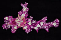 Fuchsia/Gold Appliqué With Sequins And Rhinestones
