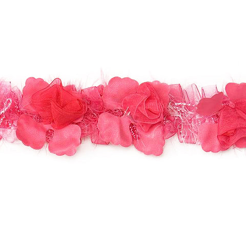 Fuchsia Stretch Flower Trim