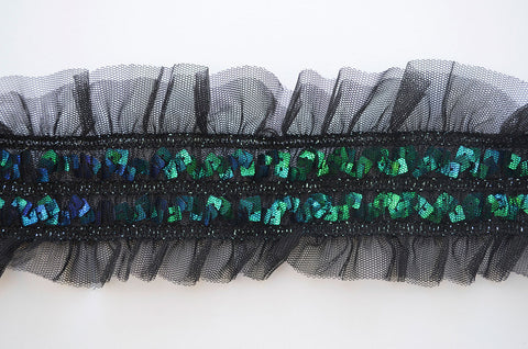 "3"" Black Gather Stretch Mesh With Incased Blue And Green Sequins"