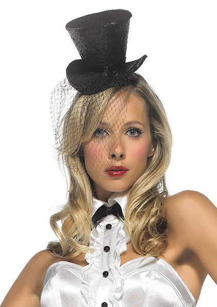 Mini Glitter Top Hat w/Veil - Black or Red