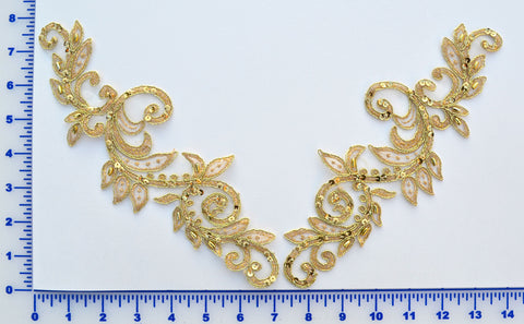 Gold Metallic Pair Appliqués With Sequins And Beads