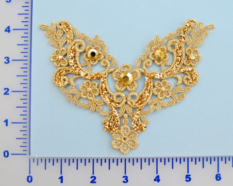 Gold Glitter Lace Appliqué With 3 Rhinestones