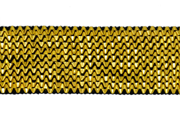 "2"" Stretch Metallic Lurex Trim - Gold/Black"