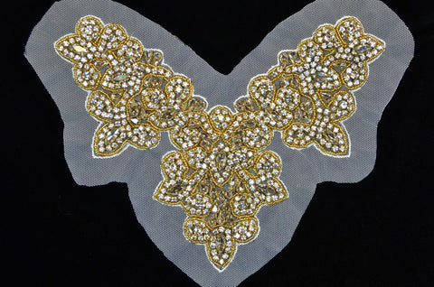 Crystal & Gold Beaded Rhinestone Bodice Appliqué on Mesh