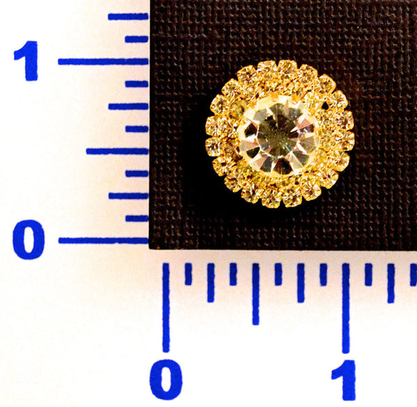 Rhinestone Gold Button - Individual or 12 Pack
