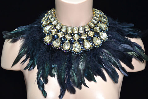 Gold Rhinestone Neck Piece w/ Feathers