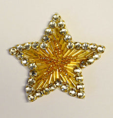 Rhinestone Star Appliqué. Available in 2 colors. Crystal or Gold