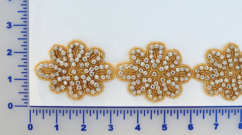 Gold Rhinestone Flower Trim