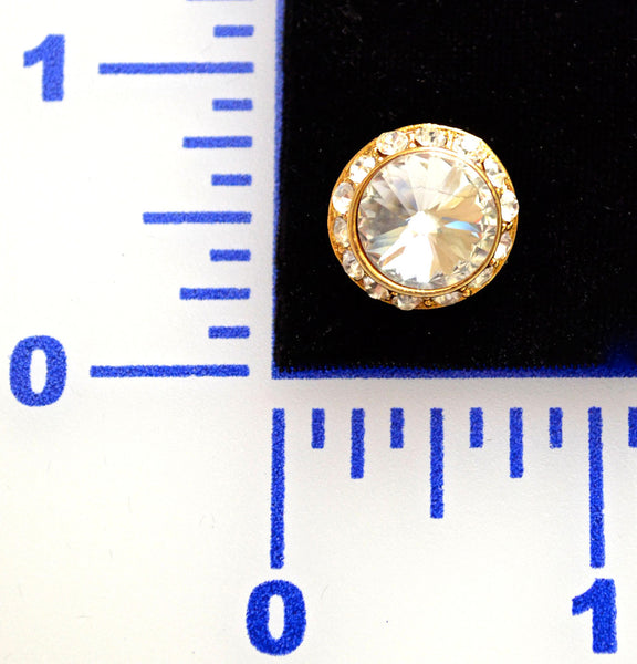Rivoli Rhinestone Gold Button - Individual or 12 Pack