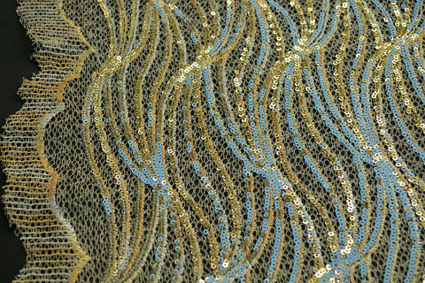 Gold Sequin Lace - Border On Both Edges