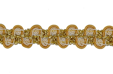 "1"" Metallic Braid Trim - Gold & Ivory"