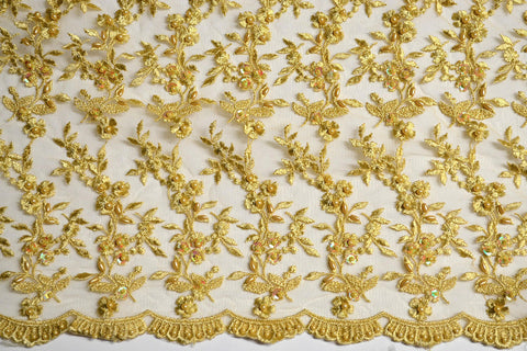 Gold Beaded Lace w/ Sequins - Border On Both Edges