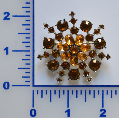 Gold Snow Flake Rhinestone Brooch