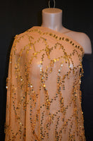 Gold Flapper Sequin Mesh- CLOSEOUT