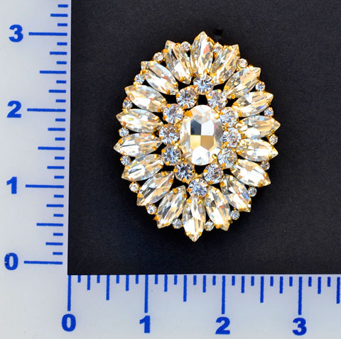 Gold & Crystal Rhinestone Brooch