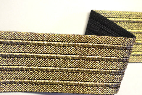 "2"" Stretch Metallic Elastic Trim - Gold/Black"