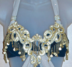 Matt Gold Sequin Beaded Appliqué With Dangles