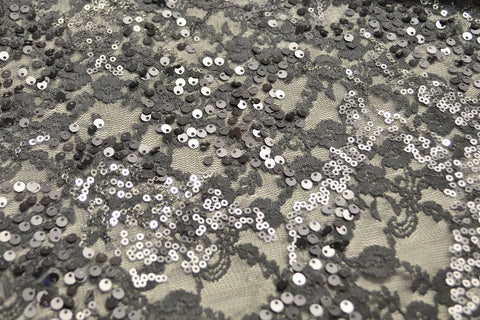 Steel Gray Sequin Stretch Lace