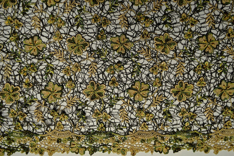 Green & Gold Beaded Lace - Border On Both Edges