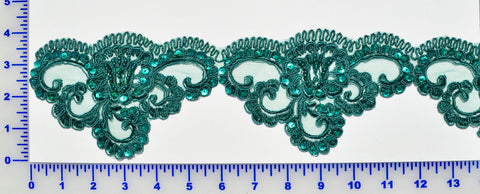 Dark Green Beaded Lace Trim With Sequins & Beads