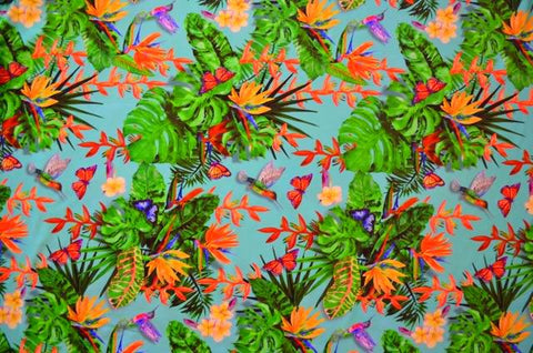 Hawaiian Print Nylon Spandex- 4 Way Stretch
