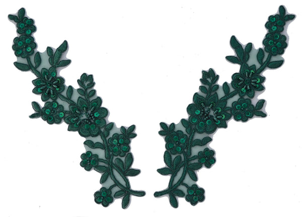 Hunter Green Pair Appliqués With Sequins And Beads