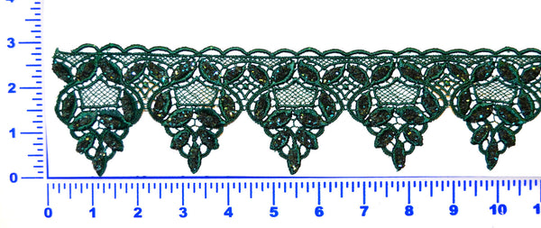 Glitter Lace Trim - Hunter Green