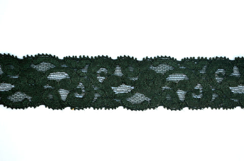 "1 1/4"" Stretch Lace - Hunter Green"