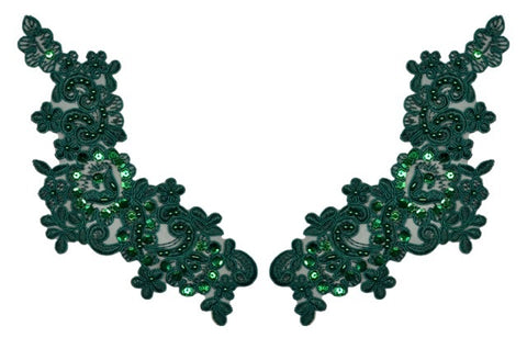 Hunter Green Appliqué Pair With Sequins And Beads