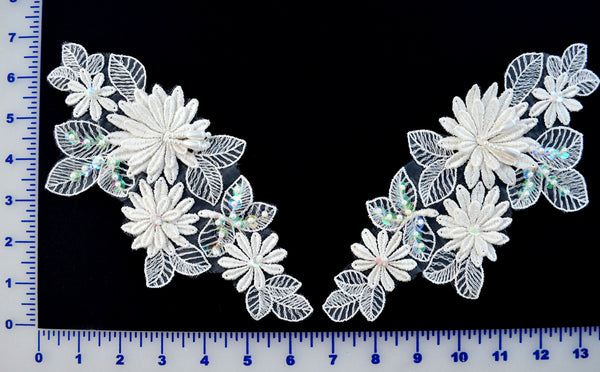 Ivory Appliqué Pair With Sequins And Beads