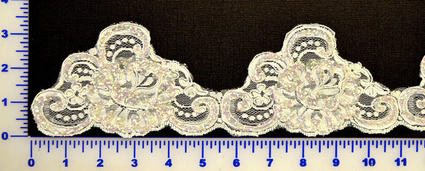 Glitter Corded Lace Trim - Ivory