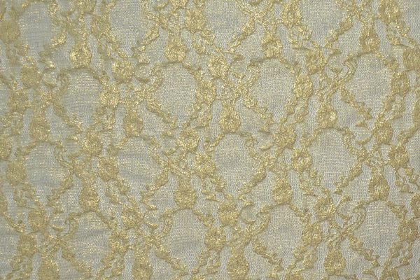 Gold Foiled Ivory Stretch Lace