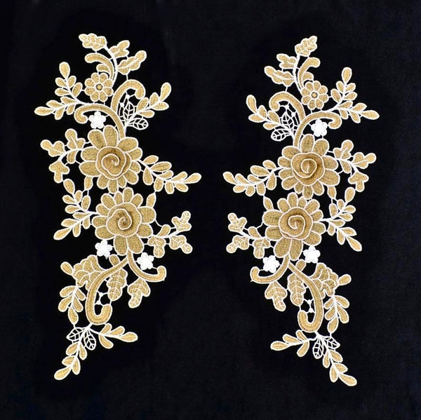 Gold metallic & Ivory Applique Pair