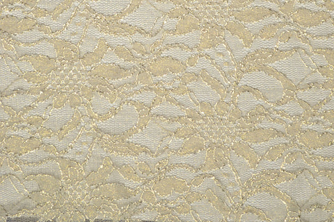 Ivory With Gold Metallic Stretch Lace