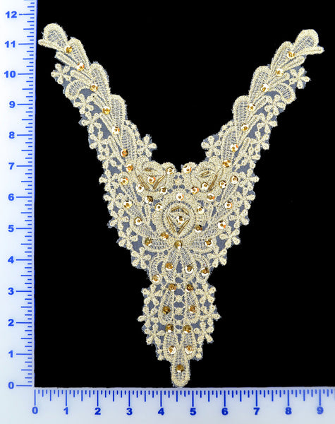 Ivory Gold Metallic Appliqué With Sequins And Beads