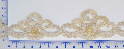 Ivory/Gold Beaded Lace Trim With Sequins & Beads