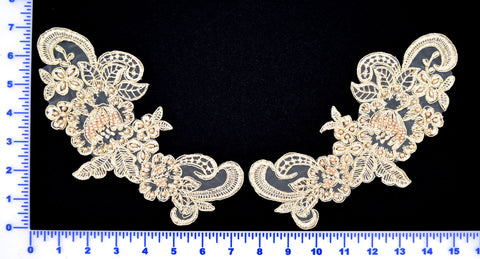Ivory/Gold Metallic Pair Appliqués With Sequins And Beads