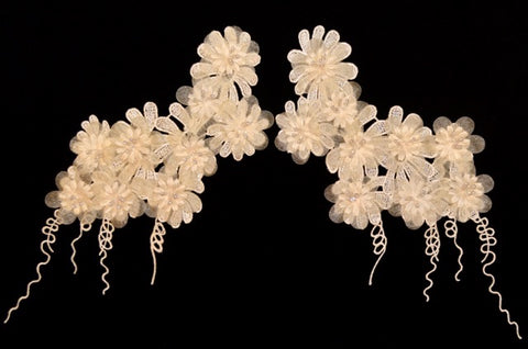 Ivory Flower Appliqué Pair With Beads