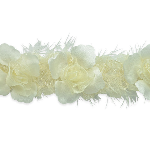 Ivory Stretch Flower Trim