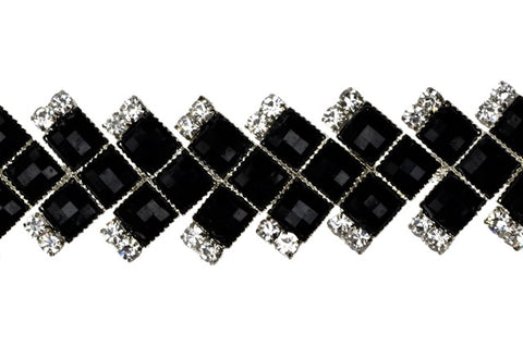 Jet And Crystal Rhinestone Trim Set In Metal - Bendable